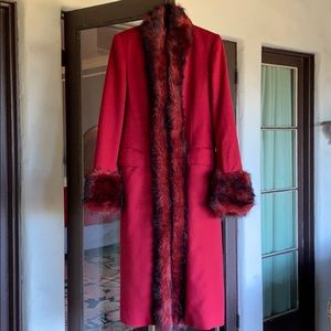 Red coat with faux fur trim BCBG Max Azria
